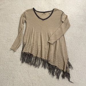 BKE Size XS Flowy Asymmetrical Vneck Sweater Tunic